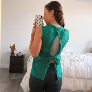 Green Fabletics Twisted Back Tank